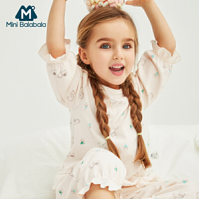 【限时2件3折价:72】迷你巴拉巴拉女童家居服两件套宝宝睡衣2019春季新款儿童內着套装