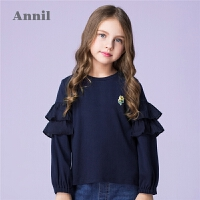 安奈儿童装女童时尚甜美圆领长袖上衣2019秋装新款