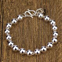 纯银圆珠手链S990足银男女款佛珠转运珠子手链宝宝银饰