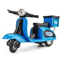 电动车合金车模 男孩三轮车快递摩托车模型仿真儿童玩具车外卖