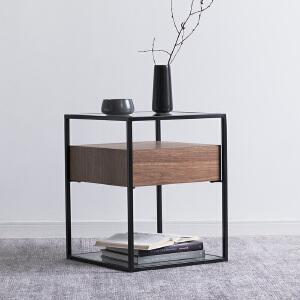 奇居良品 北欧简约客厅家具 珊纳玻璃胡桃木饰面茶几角几