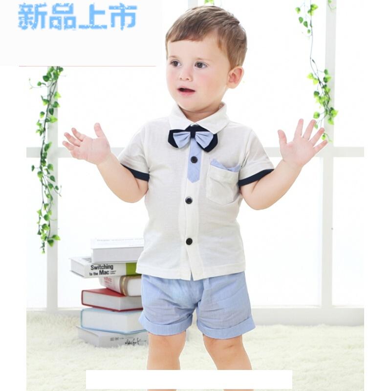 男宝宝夏季短袖+短裤套装婴幼儿童装0-1-2-3周岁绅士礼服宴会