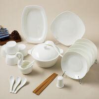 【当当自营】SKYTOP斯凯绨 碗盘碟碗筷陶瓷骨瓷餐具套装 46头白瓷方形