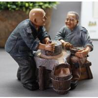 长相依老俩口磨磨摆设幸福老人情侣摆件家居饰品爷爷奶奶礼品