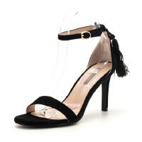 【大牌日3折】菲伯丽尔(Fondberyl)夏季专柜款绒面羊皮革一字带细跟尖头凉鞋FB82115066
