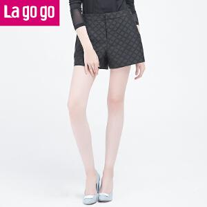 Lagogo/拉谷谷2016年秋季新款时尚高腰拉链阔腿短裤