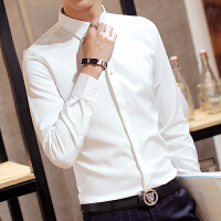 新款春季白衬衫男修身型长袖韩版青年纯色英伦纯白色衬衣春秋免烫