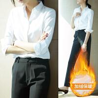 白色衬衫女士长袖2019春新款职业正装工作服时尚气质休闲韩版衬衣 XS (150-162CM 80-88斤)