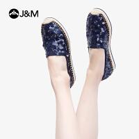 【爆款推荐】jm快乐玛丽2019春季新款镂空亮片平底纯色休闲渔夫鞋女帆布鞋