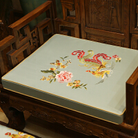新古典中式沙发坐垫客厅仿古家具实木沙发垫防滑圈椅坐垫定做 凤穿牡丹-淡蓝