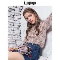 Lagogo/拉谷谷2019秋季新款女装喇叭袖上衣长袖宽松雪纺衫HCSS506G46
