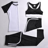 夏季运动套装女瑜伽服运动四件套跑步健身服运动短裤防震背心