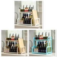 门扉 厨房置物架 双层厨房置物架壁挂落地调料调味储物收纳用具架厨具刀架用品