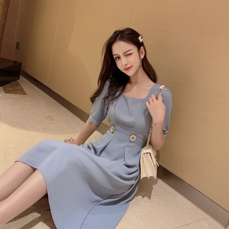 2019夏装新品CHIC纯色方领收腰显瘦短袖连衣裙 品质保证  售后无忧  放心购买