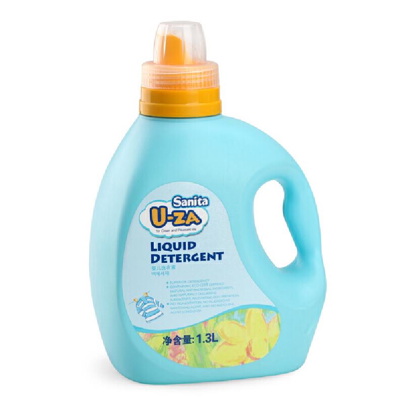 韩国Sanita U-ZA婴儿洗衣液 宝宝洗衣液 天然柚子易漂无残留1.3L