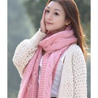 保暖针织围脖 韩版女士冬季超长毛线围巾麻花厚款
