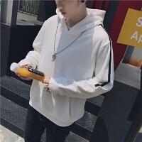 新款个性黑白织带连帽卫衣男套头衫韩版潮男上衣时尚学生衣服宽松