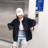 原宿风黑色牛仔外套女秋季韩版宽松bf开学季学生中长款长袖夹克衫
