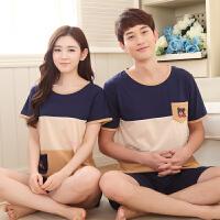夏季情侣短袖纯棉睡衣可爱男女士S码宽松薄款夏天家居服套装韩版