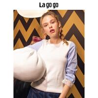 【5折价154.5】Lagogo/拉谷谷2018年秋季新款时尚圆领蕾丝拼接针织衫HCMM357A32