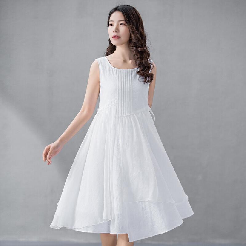 【618狂欢新品直降再享劵】烟花烫尔叙 2018夏装新款女装简约修身无袖白色淑女连衣裙 羽白U型领、无袖、有里布、七分裙