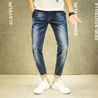 春季牛仔裤小脚男士修身长裤韩版中腰斜口袋潮