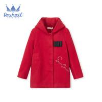 【秒杀价:199元】水孩儿女童夹棉大衣2019新款可爱女童时尚连帽纯色大衣