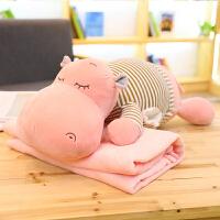 三合一空调毯子午睡枕头可爱河马暖手抱枕公仔被子两用靠垫办公室