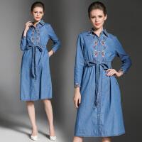 秋装新品韩版中长款牛仔长袖连衣裙女修身衬衫领时尚打底裙子