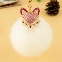 车钥匙挂件女毛绒创意可爱狐狸毛个性饰品水晶汽车 钥匙扣