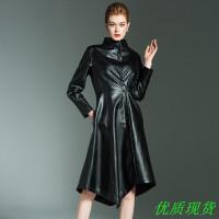 秋冬新款女装时尚收腰显瘦皮衣长袖外套风衣黑色中长款系带不规则