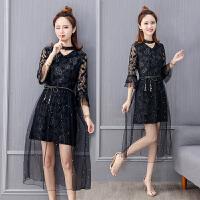 蕾丝连衣裙女2018夏季新款韩版小清新喇叭袖超仙网纱气质仙女裙子