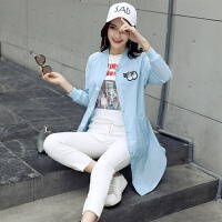 防晒衣中长款夏季薄款皮肤衣防紫外线开衫女装韩版长袖口袋披肩空调衫潮