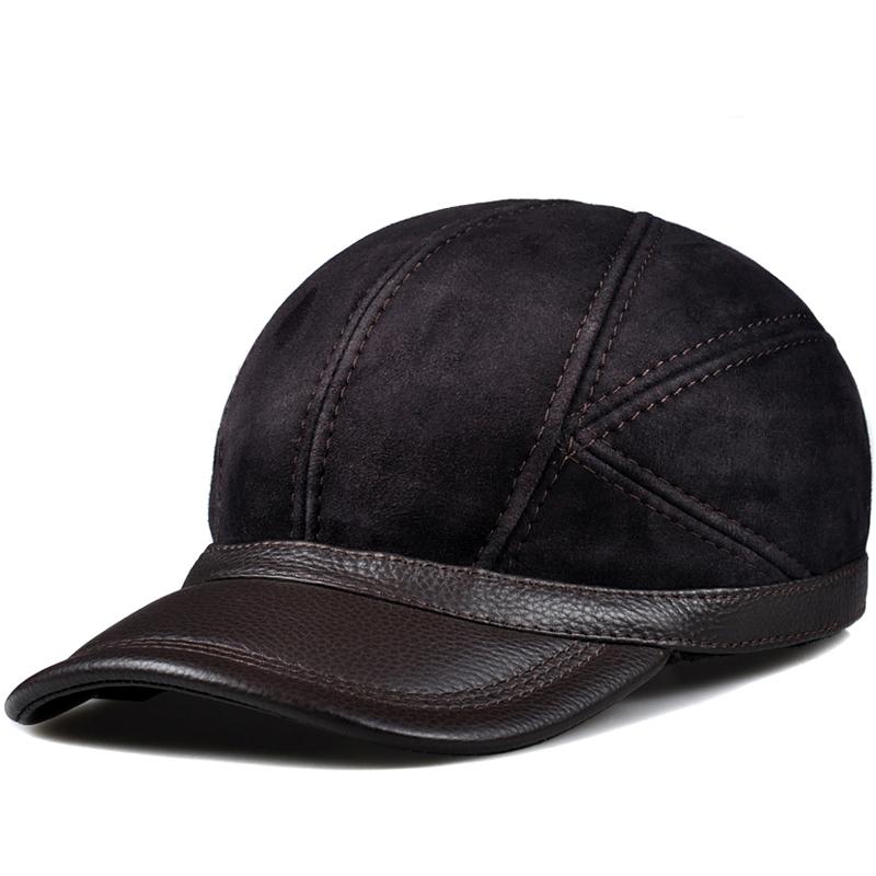 冬天男士毛一体棒球帽帽子真皮帽帽体闲鸭舌帽