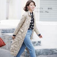 轻薄羽绒服女色时尚秋冬中长款菱形格子修身外套