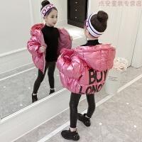 女童棉衣外套2018新款冬装女孩短款面包服中大童洋气加厚羽绒 +模特同款皮裤