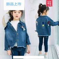 2018春款女童牛仔外套单排扣牛仔布方领牛仔色韩版实拍有模特常规春秋纯色