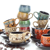 90ml意式浓缩咖啡杯碟套装手绘小号容量迷你拿铁杯子个性复古