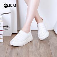 【低价秒杀】jm快乐玛丽女鞋春季新款时尚厚底舒适套脚蕾丝乐福鞋子