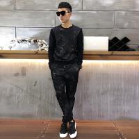 运动套装男士秋季新秋装男式时尚潮流修身帅气卫衣两件套休闲时尚 黑色