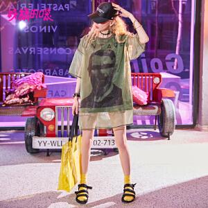 妖精的口袋长款t恤女2018新款网纱宽松原宿风欧货chic短袖