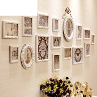 室客厅沙发背景相片挂墙创意装饰照片墙简约现代欧式实木相框墙卧