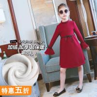 女童连衣裙冬装长袖中长款童装裙子中大童儿童春秋新款韩版公主裙