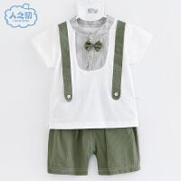 宝宝纯棉短袖套装夏季新款T恤男童短裤儿童装婴儿衣服潮2021