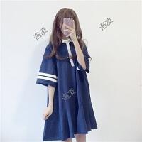 夏装新款女装日系软妹宽松显瘦polo领拼接中长款五分袖学生连衣裙