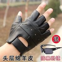 黑色 手套男士摩托车半指手套薄款司机开车骑行露指漏指防滑 黑色 半指简版 均码