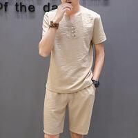 2017夏季新款亚麻短袖t恤套装男士大码棉麻半袖体恤衣服潮流男装