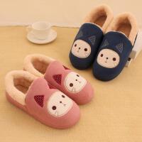 冬季棉拖鞋包跟男女情侣 卡通可爱猫咪厚底保暖防滑居家棉鞋月子鞋