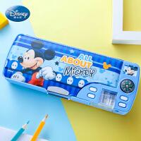 迪士尼文具盒男小学生多功能铅笔盒女1-3年级儿童可爱卡通创意大容量塑料笔袋学习文具用品带笔削笔盒