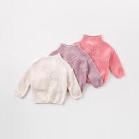 [3折价:54.9]戴维贝拉秋冬女童新款针织衫 宝宝高领毛衣DB8972